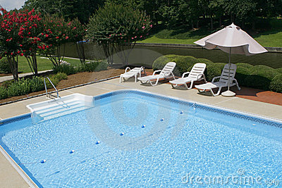 Pool Side With Lounge Chairs And Umbrella Stock Images Image 5790784