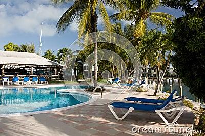 Pool side sun beds