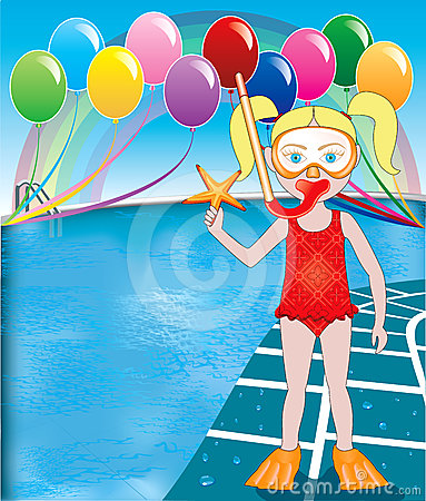 Pool Snorkel Girl