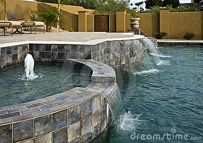 Pool, spa, fountains and waterfalls