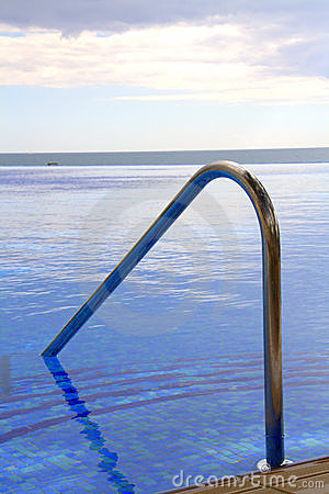 Pool steps and handrail