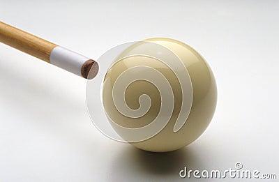 Pool stick striking cue ball