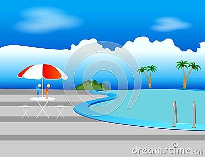 Pool, Sunshade and Drinks