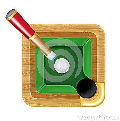 Pool table icon with white ball and cue