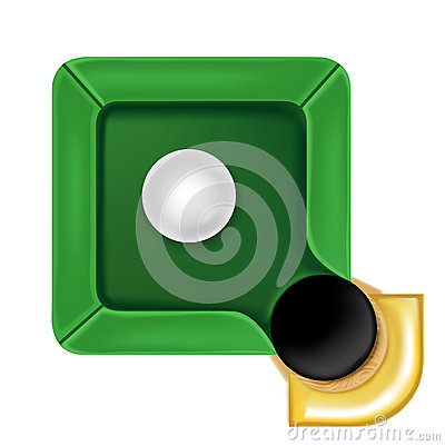 Pool table icon with white ball isolated