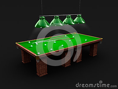 Pool table with light, billiard balls and cues