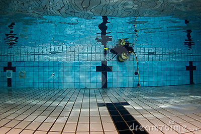 Pool underwater with scuba gear