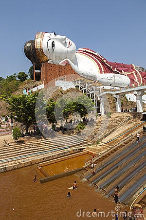 Giant Buddha and Recreation Editorial Stock Photo