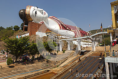 Giant Buddha and Recreation Editorial Stock Image