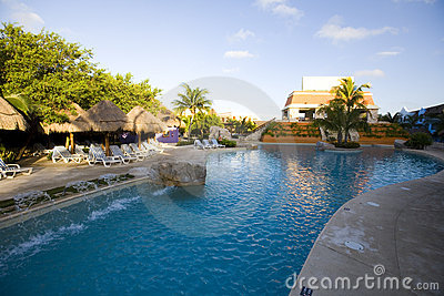 Pool and waterway at luxury resort in Mexico