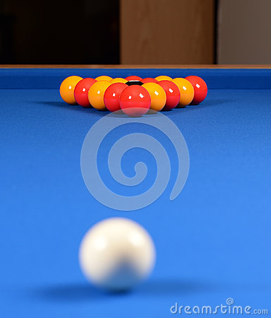 Pools balls on a blue table
