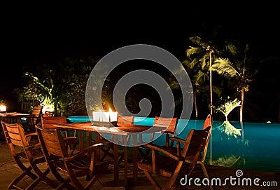 Poolside candle light dinner