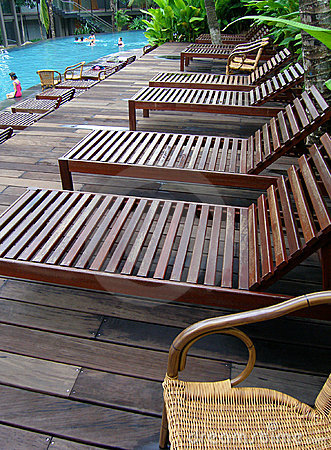 Poolside deck chairs, loungers