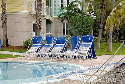 Poolside sunbeds