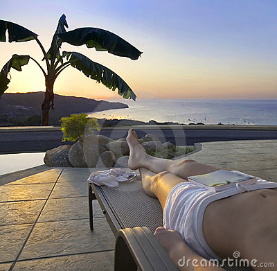 Free Poolside Sunset In The Tropics Stock Photos - 2161173