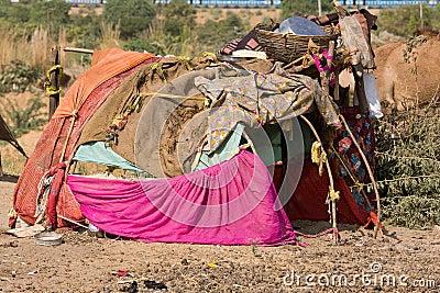 The poor area in the desert near Pushkar, India