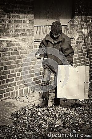 Free Poor Beggar Boy In A Backyard, His Home Royalty Free Stock Photos - 108464778