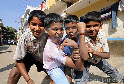 Poor boys with beautiful hearts and sweet smile Editorial Stock Photo