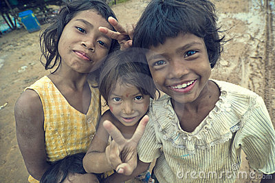Poor cambodian kids smiling Editorial Stock Image