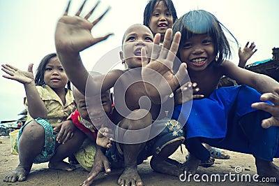 Poor cambodian kids smiling Editorial Image