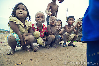 Poor cambodian kids smiling Editorial Photography