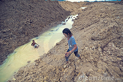 Poor children from Cambodia playing Editorial Photography