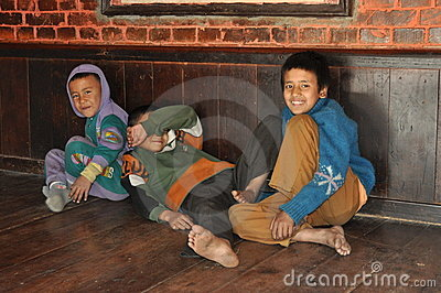 Poor children from Nepal Editorial Photography