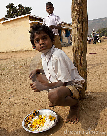 Poor Children in rural india Editorial Photo