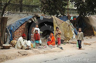 Poor family at slum area in Delhi,India Editorial Image