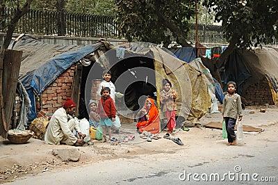 Poor family at slum area in Delhi,India Editorial Image