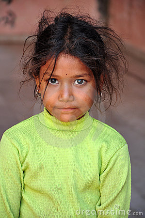 Poor indian girl Editorial Photography