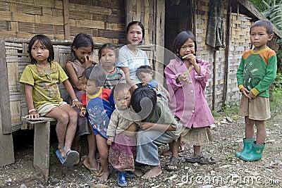 Poor laotian hmong children Editorial Stock Image