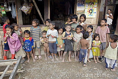 Poor laotian hmong children Editorial Image