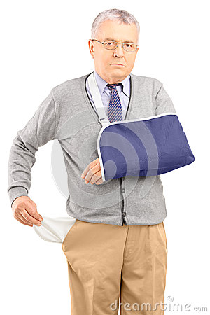 Poor man with broken arm showing his empty pocket