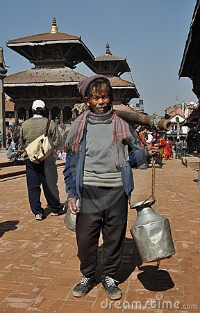 Poor old man in Patan, Nepal Editorial Photo