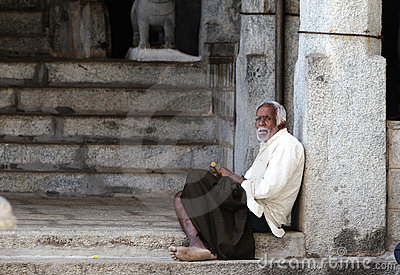 A poor old man in slum Editorial Photo