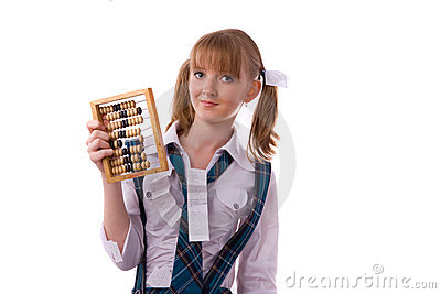 Poor student with abacus.