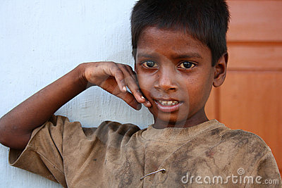 Poor Uneducated Boy from Rural India Editorial Image