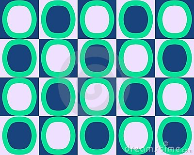Pop Art Alternate Ovals Pattern Green Blue White