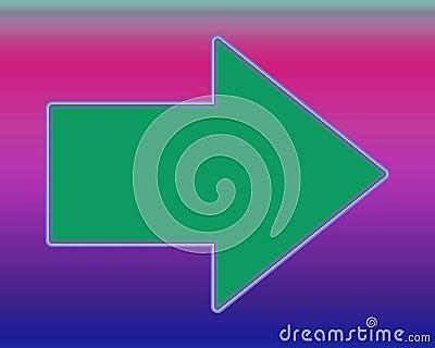 Pop Art An Arrow To The Right Green Over Fuchsia