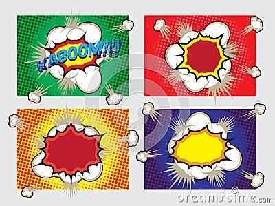 Pop Art Big Explosion Effects Design Elements