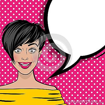 Free Pop Art Cartoon Comic Sexy Woman Empty Bubble Stock Photo - 90247920