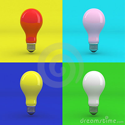 Pop art colored light bulbs