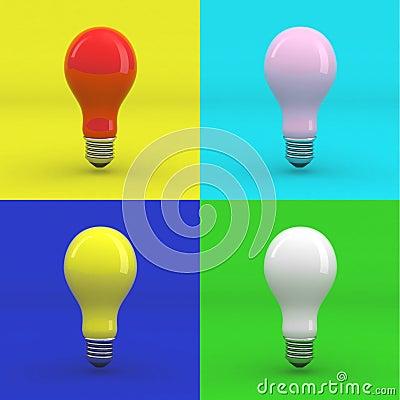Pop art colored light bulbs