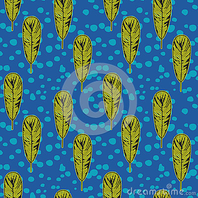 Pop art fifties pattern with feathers, vector
