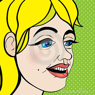 Pop art girl close up
