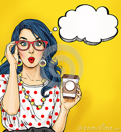 Pop Art girl with coffee cup in glasses with thought bubble. Party invitation. Birthday card. Hollywood, movie star. Comic woman. Stock Photo