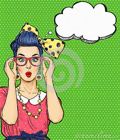 Pop Art girl in glasses with thought bubble. Party invitation. Birthday card. Hollywood, Comic woman. Sexy girl. Stock Photo