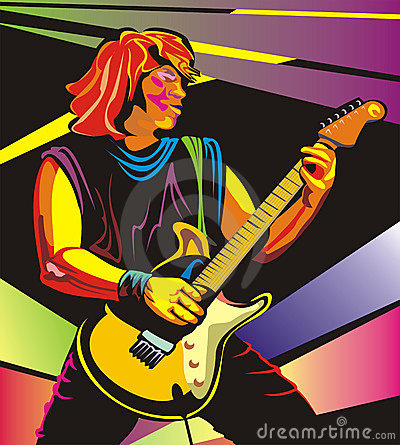 Pop art guitarist - perform in concert