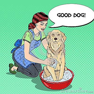 Pop Art Happy Woman Washing Dog Vector Illustration